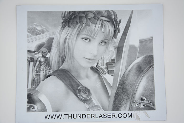 Female warrior Double-Color-Abs laser engraver